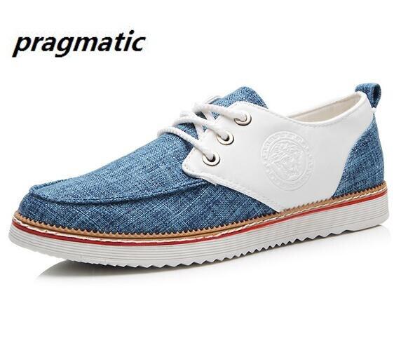 men flax PU patchwork shoes Men s classic casual shoes mens hemp Canvas shoes male high