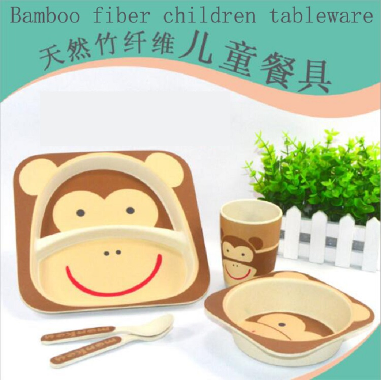 Bamboo fiber children utensils sets 5pcs baby green tableware Plate bowl cup Forks Spoon with animal