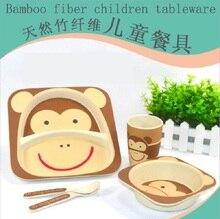 Bambusfaser kinder utensilien sets 5 stücke baby grün geschirr Teller schüssel tasse Gabel Löffel mit tier zoo baby druck