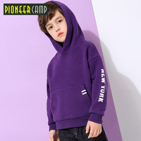 Pioneer camp kids new thick fleece t shirt boys children clothes fashion print hooded t shirt winter pure cotton tees BWY810185