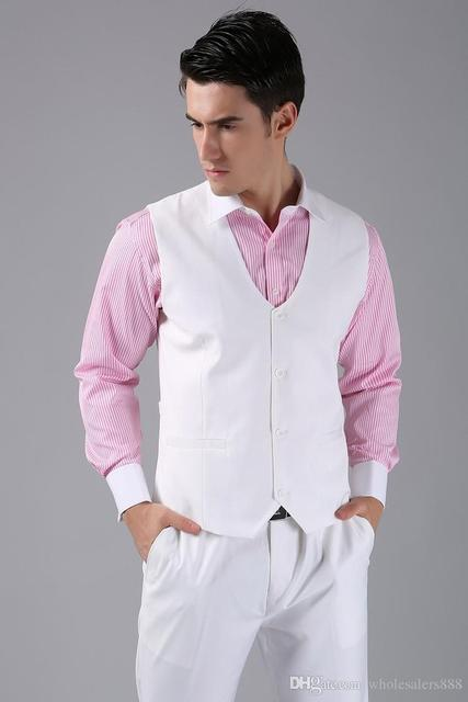 New Arrival Groom Vests White Groomsmens/Best Man Vest Custom Made Size and Color Four Buttons Wedding/Prom/Dinner Waistcoat