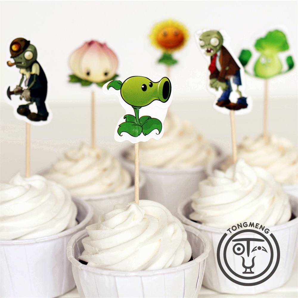 24pcs Plants vs. Zombies Peashooter Sunflower candy bar cupcake toppers picks decoration baby shower kids birthday party supply