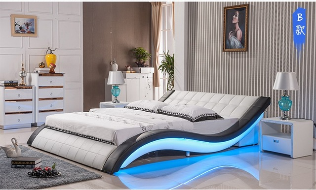 Post Modern Real Genuine Leather Bed Soft Double King Queen Size Bedroom With Sound System For Iphone Ipad Led Light
