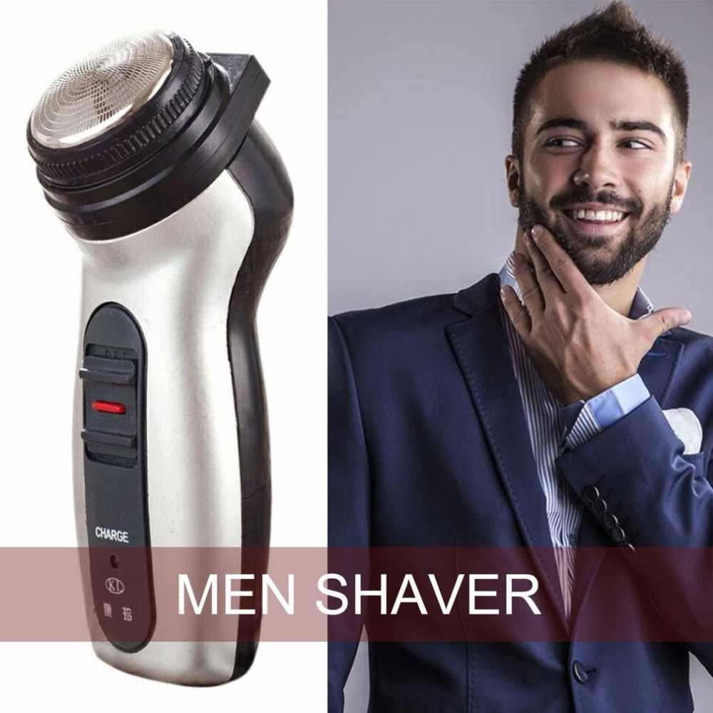 デュアル使用男性シェーバー充電式ステンレス鋼刃シェービングかみそり回転ポータブル電気髭トリマー