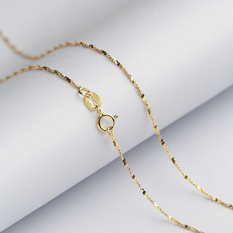 US $7 64 50% OFF|Starry Brilliant 1 2 MM Sterling Silver Chain Solid 925  Italy Necklace 16 & 18 Inches White/Rose/Yellow Gold Color-in Necklaces  from