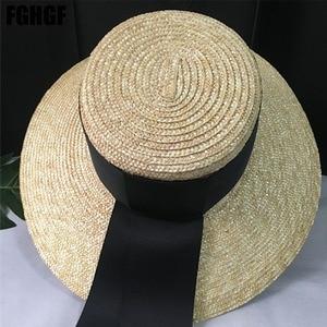 Image 4 - Natural Women Sun Hats Black Ribbon 9cm 13cm 15cm Flat Top Large Wide Brim Straw Hats Straw Hat Chapeu Sombrero Beach Hats