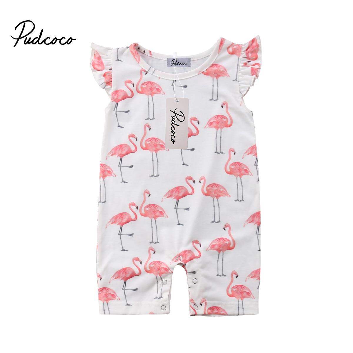 Cute Baby Rompers Toddler Kids Baby Girl Flamingo Jumpsuit Short