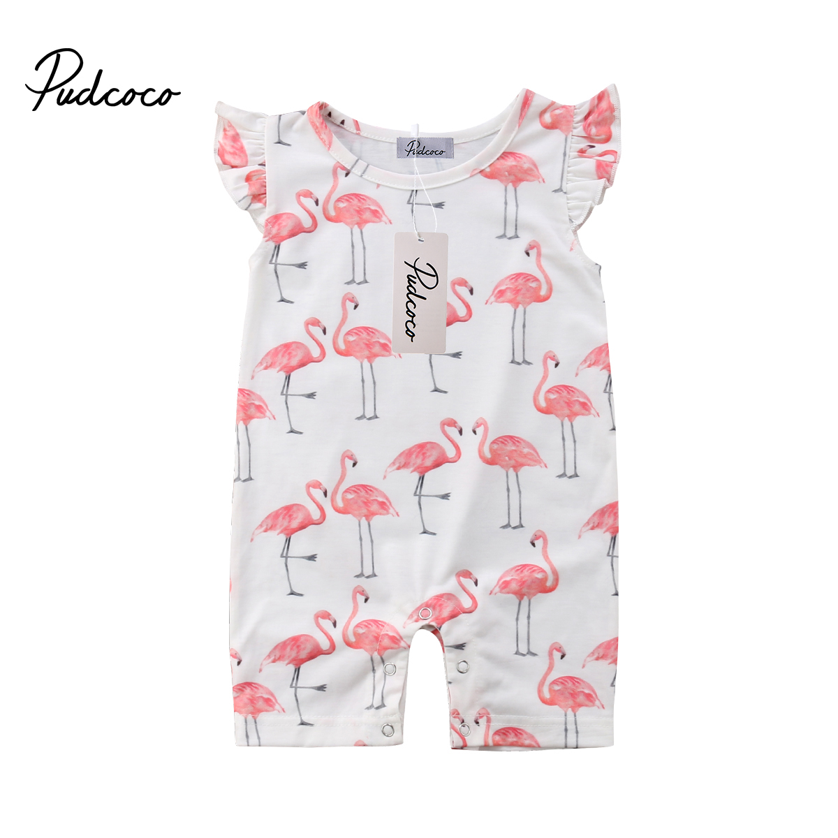 Cute Baby Rompers Toddler Kids Baby Girl Flamingo Jumpsuit Short Sleeve Romper Harem Trousers Jumper Girl Clothes Outfits