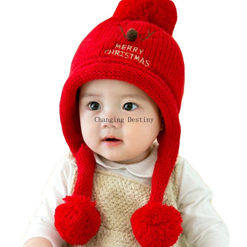 0-2 Years Old 2017 Winter Hot Sales Baby's Plush Hats Hooded  for Christmas Newborn Girls Boys  Deer Knitted Hat 7 Colors