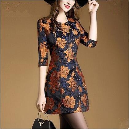 European Fashion 2017 Spring Women'S Style Dress New Commuter Jacquard Dress Embroidered Dress Vintage Vestidos Size S -XXL