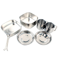6 Pcs Set Stainless Steel Outdoor Camping Travel Tableware Picnic Portable Barbecue Pots Pans Cookware Set