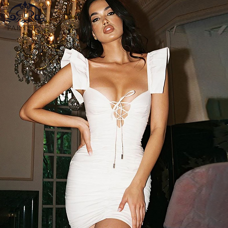 Parthea White Summer Dress 2019 Sleeveless Sexy Cut Out Cross Lace Up Party Elegant Ruffle Reched Bodycon Mini
