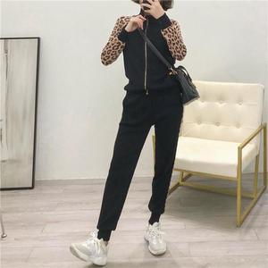 Image 2 - Kobiety dresy nowy 2019 wiosna dzianiny zestawy dwuczęściowe Slim Zipper Cardigans kurtka + długie spodnie garnitury kobieta Leopard Sportsuits