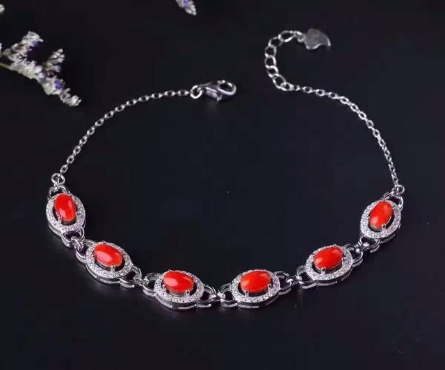 Clássico pulseira de pedras preciosas 6 pcs aka natural coral pulseira de prata maciça pulseira precioso coral pulseira de prata para o presente da mulher