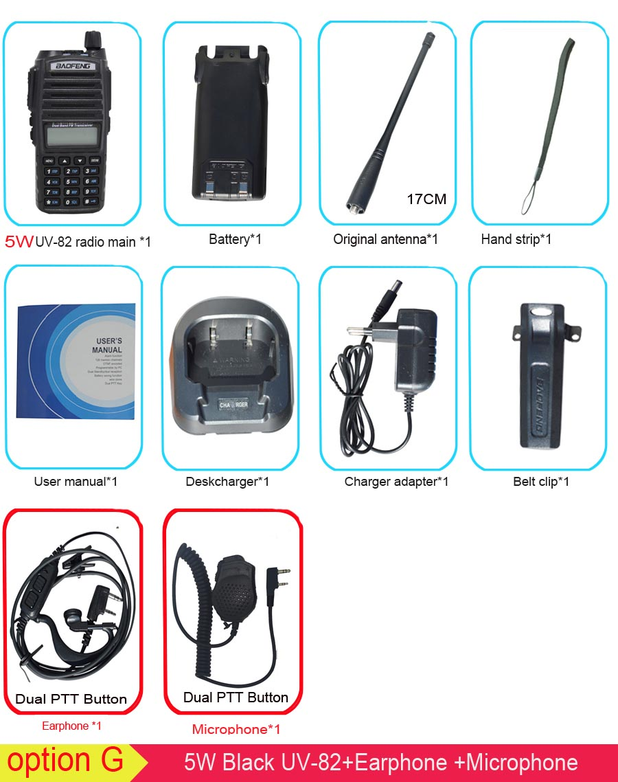 Популярная портативная рация, Baofeng, UV-82, две кнопки PTT, двухстороннее радио Vhf Uhf, двухдиапазонное Baofeng UV 82 UV82, двухстороннее радио - Цвет: 5W with microphone