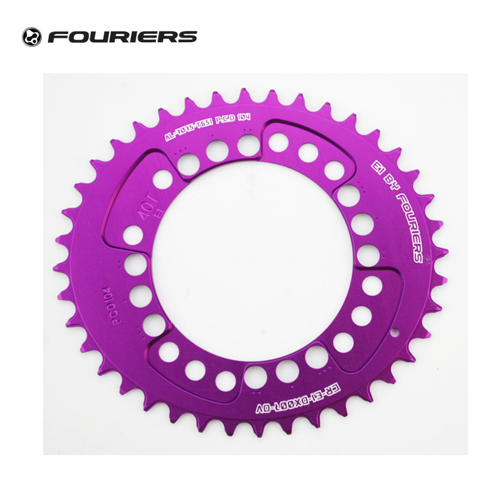 Fouriers CNC Oval MTB Mountain Bike Single Chain Ring PCD 104mm Fit S H I M A N O Narrow-wide Teeth Chainrings Purple 1pc fouriers cnc bike bicycle single chain ring 34t 36t chainrings p c d 104 for s h i m a n o oval shape narrow wide tooth