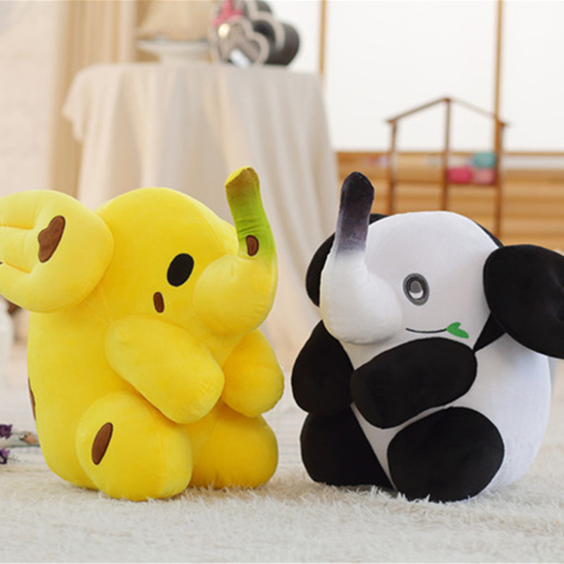 50cm One Piece Cute Banana Panda Elephant Plush Toy Pillows PP Cotton Stuffed Dolls Baby Cushions Soft Elephants Toys