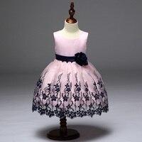 Retail Embroidery Black Flower Kid Girls Evening Prom Dress Wave Hemline Girls Summer Wedding Dress With
