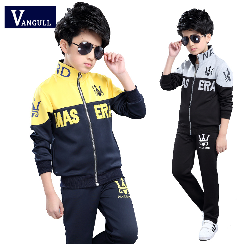 2017 Spring fall fashionable classic children s sports suit boy fight color printing alphabet Trident leisure