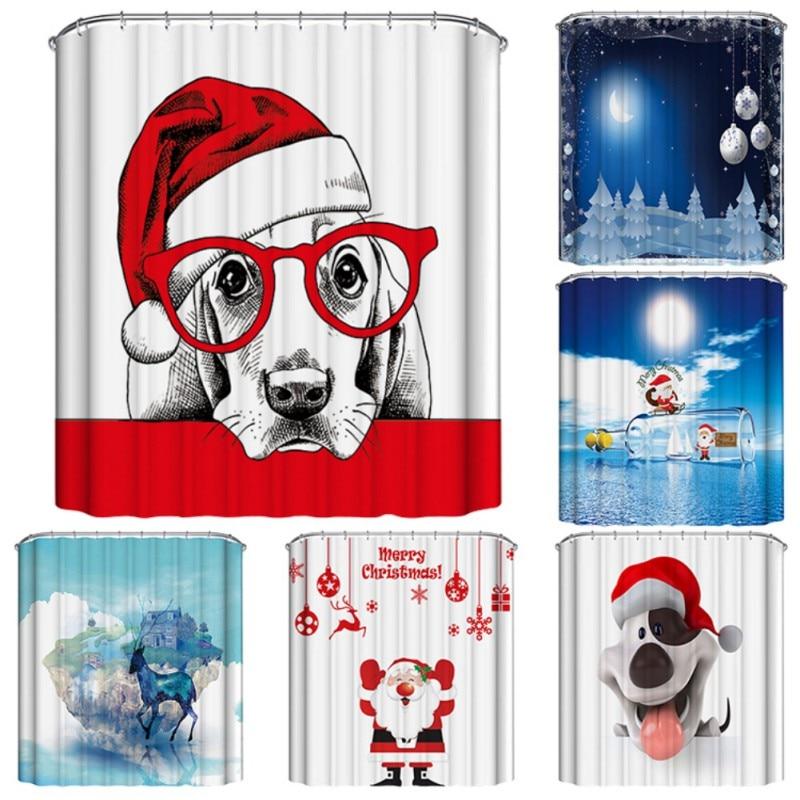 Waterproof Shower Curtain Fabrics Creative Polyester Bathtubs Curtains Printed Christmas Theme Curtains For Bathtubs Room