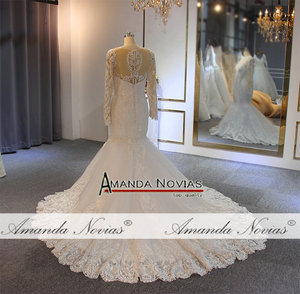 Image 2 - חתונה אלגנטית שמלה עם שרוולים ארוכים בת ים כלה שמלת כלה שמלת 2019