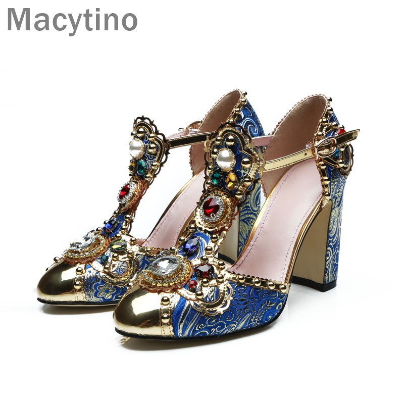 Macytino Luxury Handmade Pearls Women Pumps 10CM Blue Flock Heels T Strap Dress Shoes Round Toe 29112 t el flock