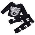 Новый 2016 повседневная новорожденный ребенок мальчик одежда высокого качества девочка одежда набор хлопок черный длинный рукав футболки + брюки 2 шт. костюмы
