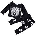 Nuevo 2016 casual ropa de niño recién nacido bebé de la alta calidad sistema de la ropa de algodón negro de manga larga t-shirt + pants 2 unids trajes