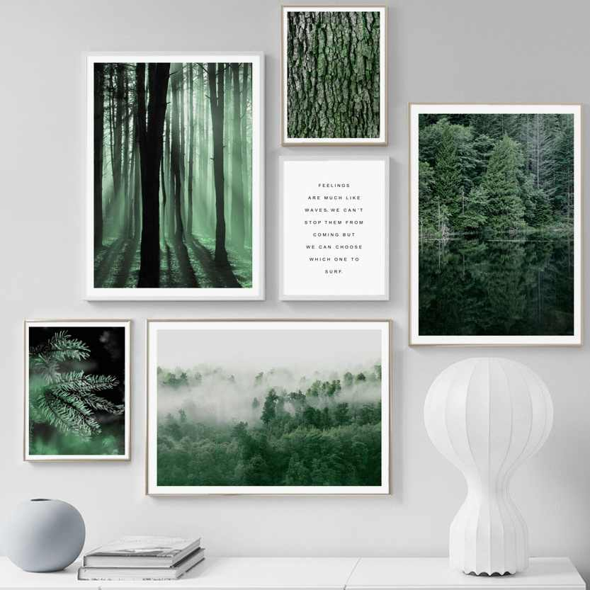 Green Tree Forest Plants Quote Landscape Wall Art Canvas Painting Nordic Posters And Prints Wall Pictures For Living Room Decor