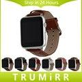 Correa De Cocodrilo Correa De Piel genuina + Adaptador de 38mm 42mm iwatch apple watch banda de pulsera pulsera de la correa negro marrón rojo blanco