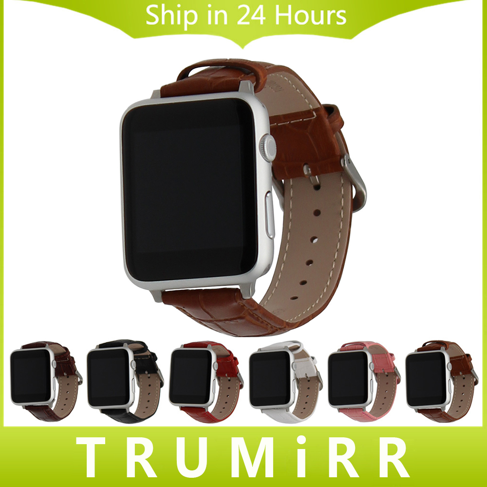 Genuine Leather Watchband Croco Strap + Adapter for 38mm 42mm iWatch Apple Watch Band Wrist Belt Bracelet Black Brown Red White 6 colors luxury genuine leather watchband for apple watch sport iwatch 38mm 42mm watch wrist strap bracelect replacement