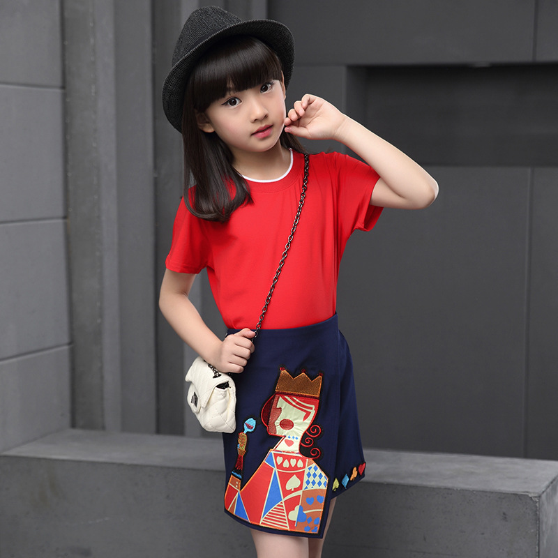 b9ff5fc219601 Filles Jupe + Manches Courtes T-shirt Deux Pièces Costume Robe Enfants  Vêtements Ensembles Blanc Rouge de Bande Dessinée Impression