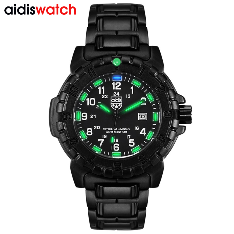AIDIS top brand men sports watches casual glowing quartz waterproof outdoor military compass alloy watch men clock reloj hombre weide new men quartz casual watch army military sports watch waterproof back light men watches alarm clock multiple time zone