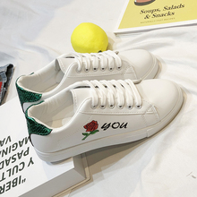 Women Shoes White Sneakers Embroidered Flowers Flats Spring Women white