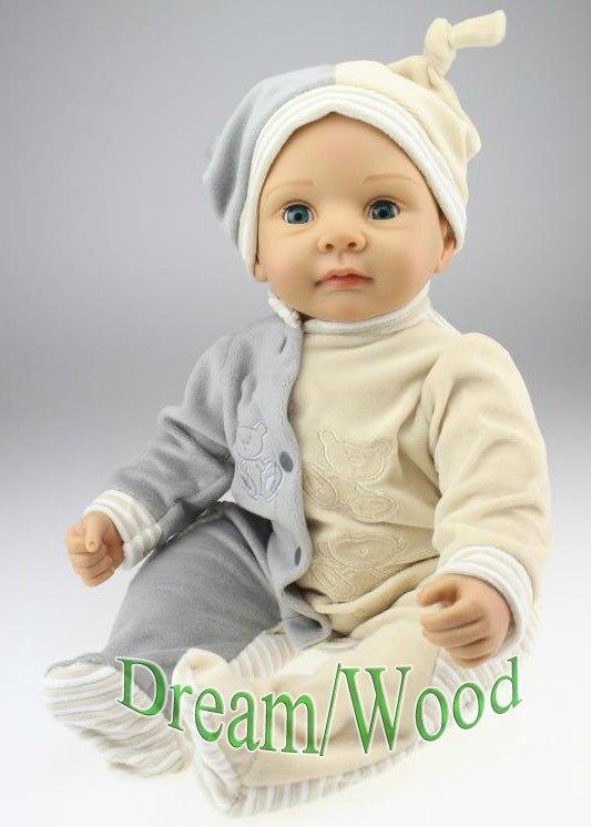 New 55cm Soft Silicone Reborn Baby Doll Toy Lifelike 22 Blink Eyes Vinyl Doll Girls Brinquedos Lovely Accompany Sleep Baby Doll
