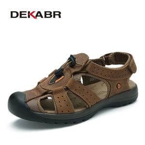 Image 5 - DEKABR Brand Genuine Leather Men Shoes Summer New Large Size Mens Sandals Men Beach Shoes Fashion Slippers Big Size 38 45
