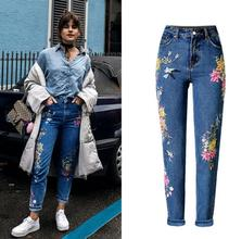 European style bird flower embroidery high-waist jeans fashion woman's straight denim pants