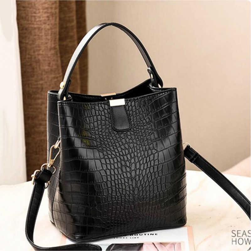Sacs de seau d'alligator rétro femmes Crocodile modèle sac à main capacité décontracté Crocodile épaule Messenger sacs dames bourse en polyuréthane