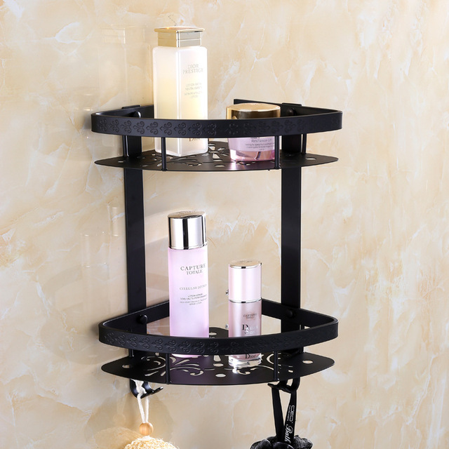 AUSWIND Modern Space Aluminum Black Bathroom Shower Corner Shelf ...