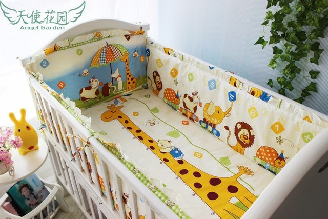Promotion! 6PCS Pink Point Bedding Set For Baby Green Color With Character Baby Crib Bed Set  (bumpers+sheet+pillow cover)