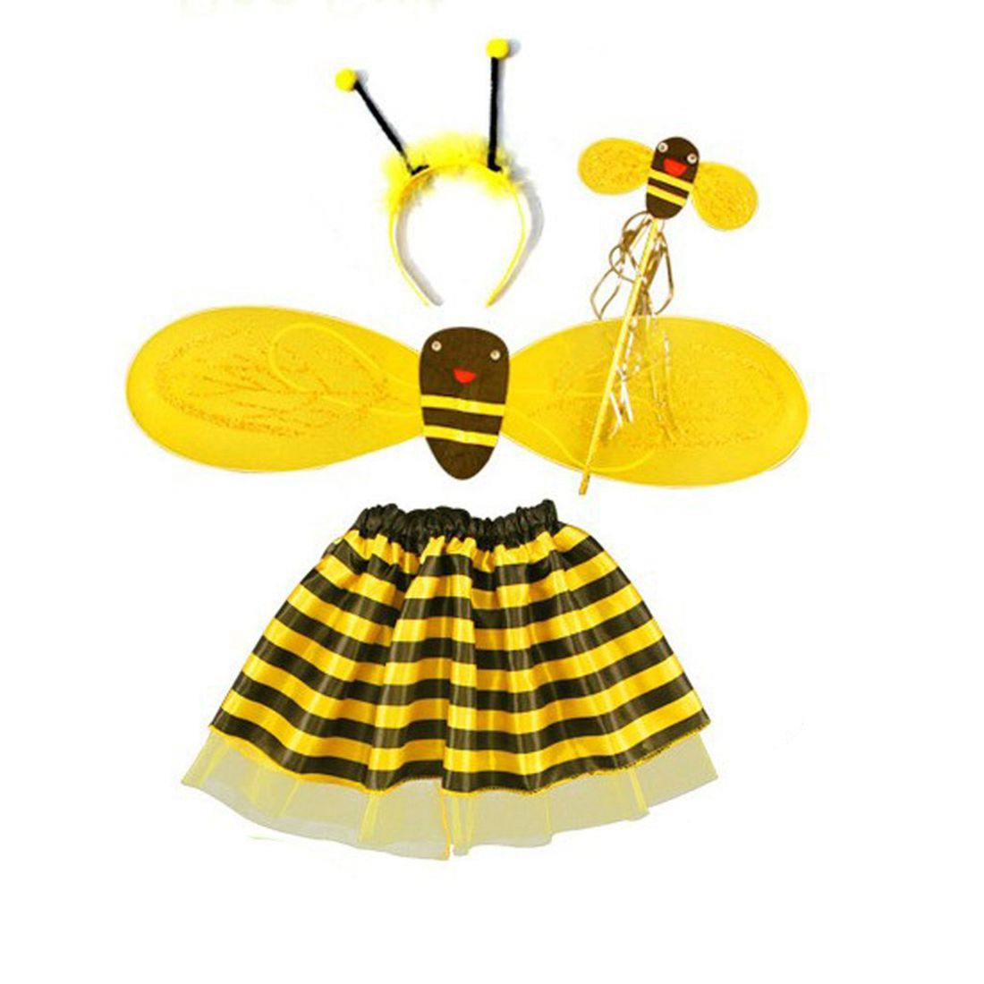 4Pc Bumble Bee Honey Girls Kids Fairy Halloween Fancy Dress Up Party Costume tinker bell fairy kids girl halloween party costume dress wings set 2 8year c247