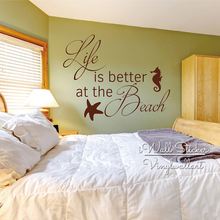 Life Is Better At The Beach Quotes Wall Decal Quote Sticker Bedroom Decor Holiday Cut Vinyl Q257