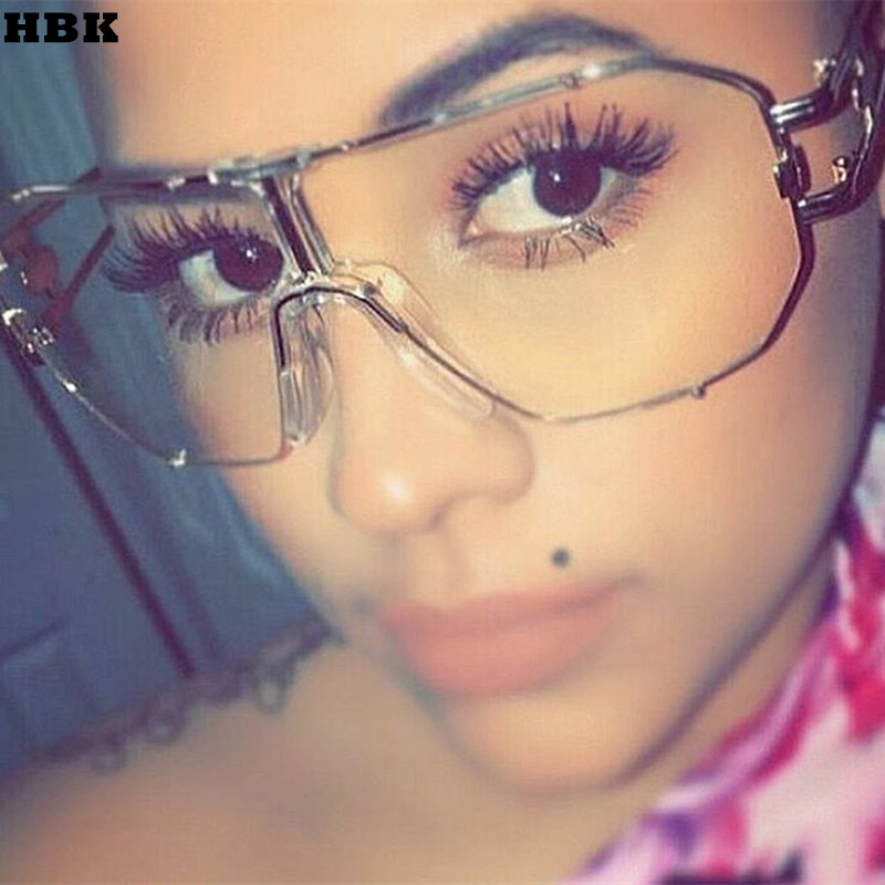 HBK Newest Unique COOL Women Sunglasses Square Glasses Vintage Big Frame Sun