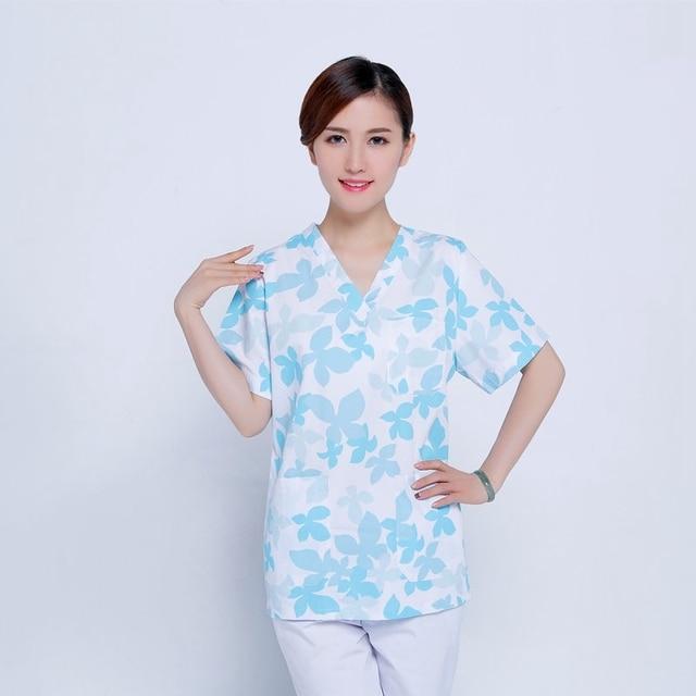Men Women Medical Clothes Nursing Clinic Tops / Pants Short Sleeve Surgical Scrubs Tops / Trousers Hospital Uniform DAJ9083