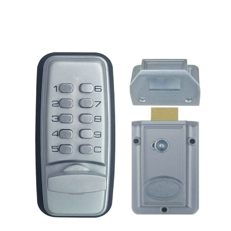 Keyless Digital Machinery Code Keypad Password Entry Door Lock With Rim Lock Latch lhx digital electronic code keyless keypad security entry gate door lock for office house a