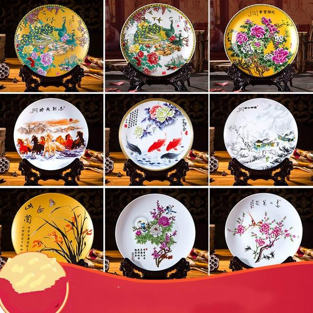 Ceramic Ornament Beauty Figurines Home Furnishing Crafts Chinese Style Porcelain Plates Handicraft Wedding Desktop Decor G $ 2