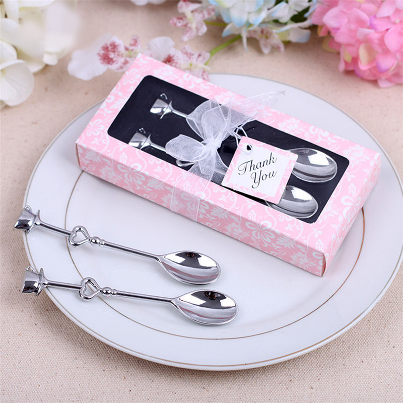 1 pair 14x65cm wedding souvenirs drink tea coffee spoon love bridal shower wedding party favor gift guests party decor supplies in party favors from home
