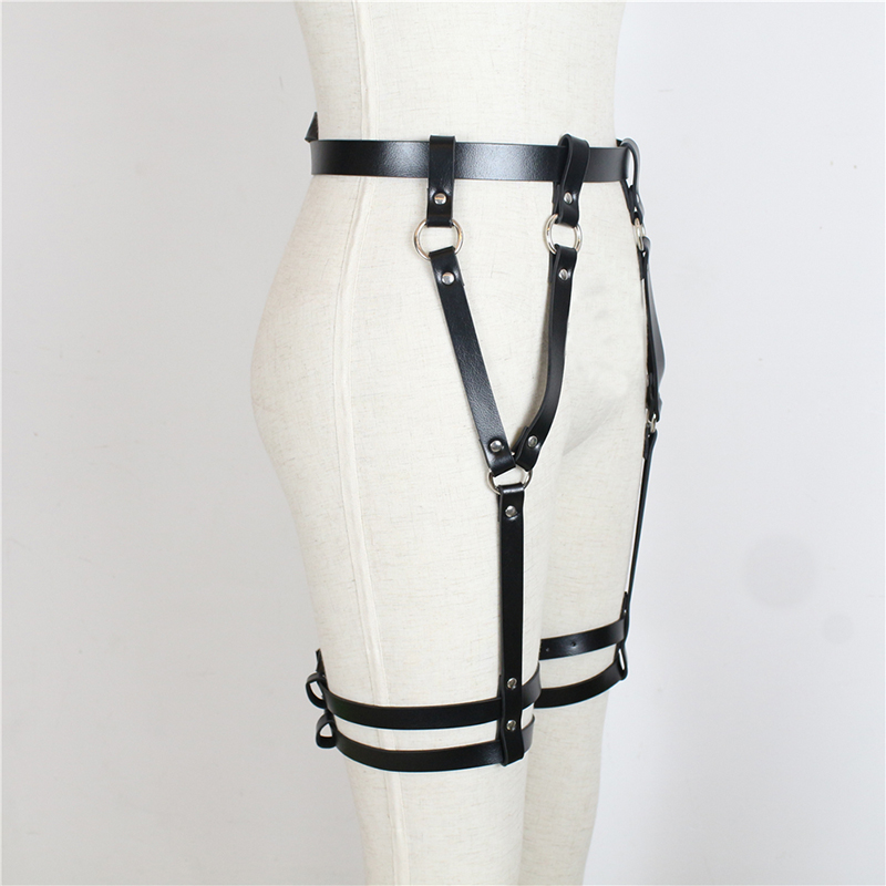 BDSM Bondage Rope Leather Harness Toys For Women Adult Game Outfit Bra And Leg Suspenders Straps Garter Belt Sex Accessories Set 8