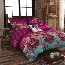 National Bohemia Recto Prune Reversible Duvet Cover Bed Sheet with Pillowcase Boho Mandala Bedding Set Twin Full Queen King Size