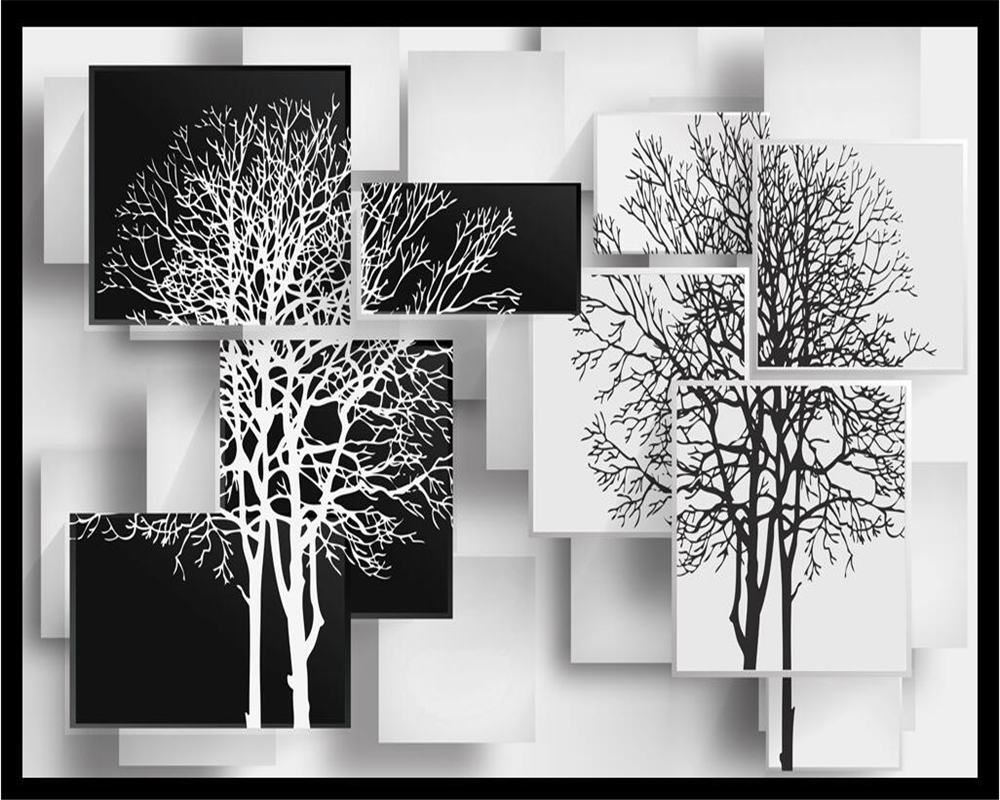 Beibehang Home Decoration Wallpaper Simple Black And White Tree Tv Sofa Background Wall Living Room Bedroom In Wallpapers From